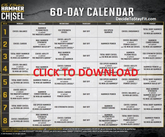 Hammer And Chisel Workout Calendar Download